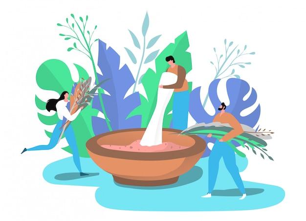 La gente con le piante organiche verdi che producono i cosmetici naturali dagli ingredienti naturali isolati sul bianco.