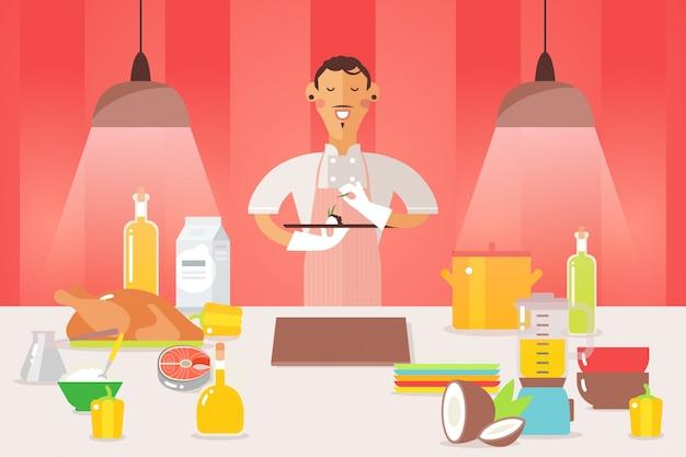 La gente dei capi fa l'illustrazione di presentazione del piatto. l'uomo in tunica bianca e grembiule stanno alla superficie del fumetto del lavoro con il piatto