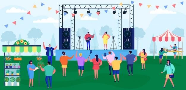 La gente dei cartoni animati al festival musicale, la folla di personaggi del festival si divertono sullo sfondo di concerti dal vivo