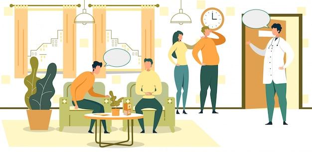 La gente del fumetto aspetta in sedie nell'illustrazione di hall dell'ospedale
