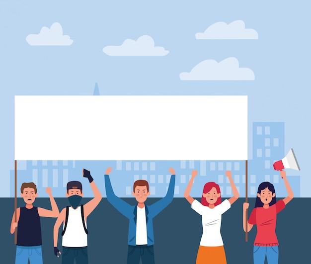 La gente del fumetto che protesta tenendo i segni e il megafono in bianco