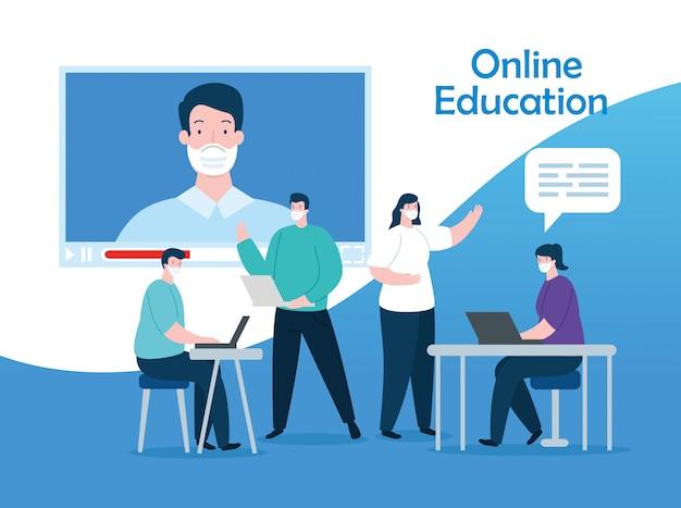 La gente del gruppo nella progettazione online dell'illustrazione di istruzione