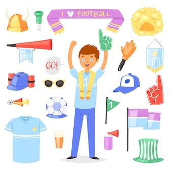 La gente del personaggio di gioco del calcio di vettore del fan di calcio con la schiuma della mano di sport e l'insieme dell'illustrazione di soccerball di fare il tifo fan della gente di sport che grida sulla partita di calcio-partita isolata