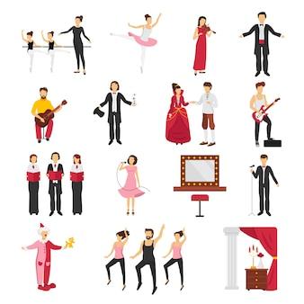 La gente del teatro ha messo con l'illustrazione di vettore isolata piano di simboli di balletto e di dramma