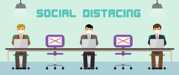 La gente dell'ufficio dell'uomo d'affari mantiene l'allontanamento sociale. nuovo lavoro normale al lavoro.
