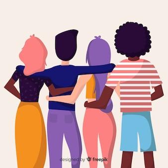 La gente della gioventù che abbraccia insieme sfondo
