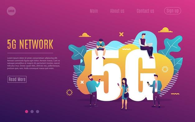 La gente della pagina di destinazione con l'aggeggio usa l'illustrazione ad alta velocità di vettore di internet. tecnologia wireless di rete 5g.