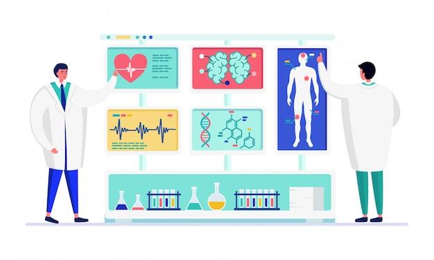 La gente dello scienziato nell'illustrazione del laboratorio dell'innovazione, funzionamento dei caratteri di medico del fumetto, analizzante i dati su bianco
