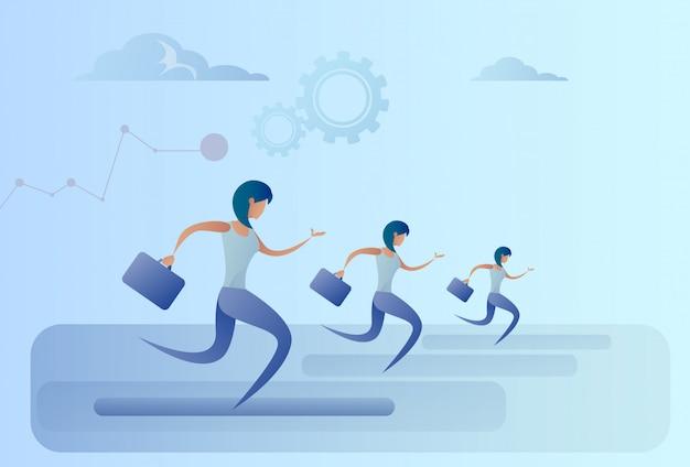 La gente di affari del gruppo esegue il concetto della concorrenza del capo della squadra