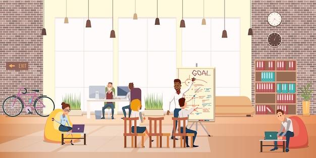 La gente di affari lavora il resto nell'ufficio moderno