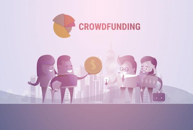La gente di affari raggruppa il concetto di investimento di finanziamento della folla