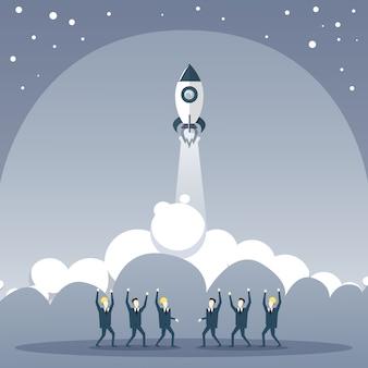 La gente di affari raggruppa l'esame del concetto di sviluppo di strategia di stratup della nave spaziale di lancio