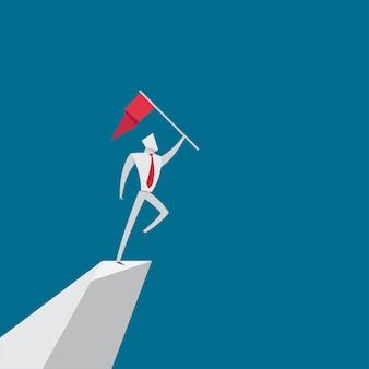 La gente di affari salta tenendo lo stile della carta di origami della bandiera
