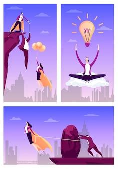La gente di aiuto dell'eroe di affari, illustrazione. concetto di successo dell'uomo d'affari, mosca piana del supereroe della donna per il risultato del lavoro.