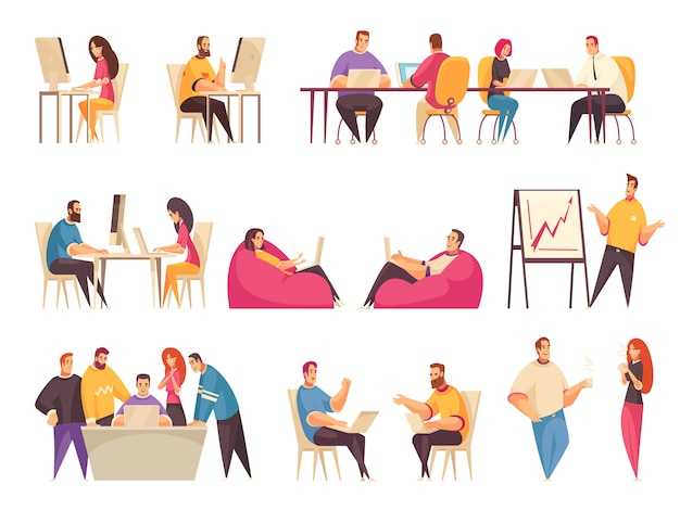 La gente di coworking ha messo con i gruppi di impiegati creativi che lavorano insieme al grande scrittorio o che discutono l'illustrazione isolata problemi aziendali