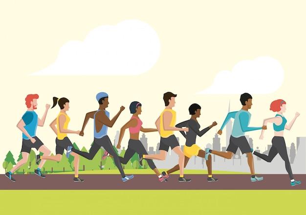 La gente di forma fisica che corre
