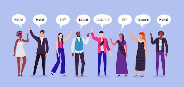 La gente dice ciao. ciao su diverse lingue, saluti persone del mondo e illustrazione di persone comunicanti