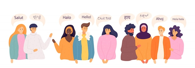 La gente dice ciao in diverse lingue. culture diverse, concetto di comunicazione internazionale. madrelingua, uomini e donne amichevoli.