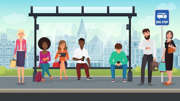 La gente era seduta alla moderna fermata dell'autobus. illustrazione.
