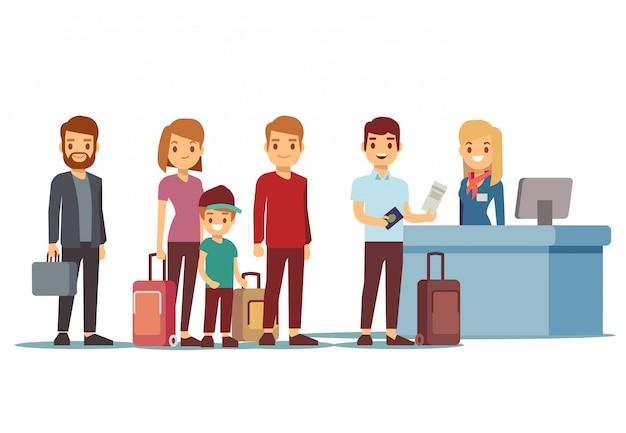 La gente fa la coda all'aeroporto al banco di registrazione. concetto di vettore di vacanze e viaggi