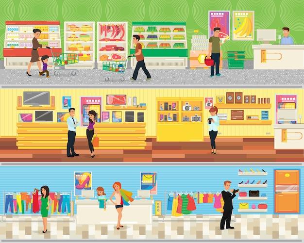 La gente fa shopping al supermercato.