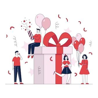 La gente felice che fa i regali e presenta l'illustrazione di vettore