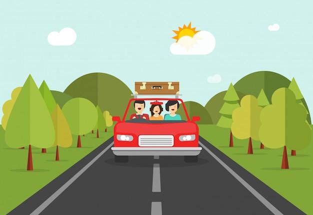 La gente felice della famiglia inciampa viaggiando tramite l'illustrazione di vettore dell'automobile