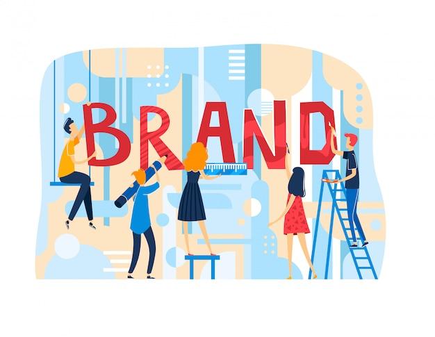 La gente femminile maschio dell'ufficio di lavoro di squadra minuscolo del carattere fa il marchio della società, testo di marca della decorazione della squadra isolato sull'illustrazione bianca e piana.