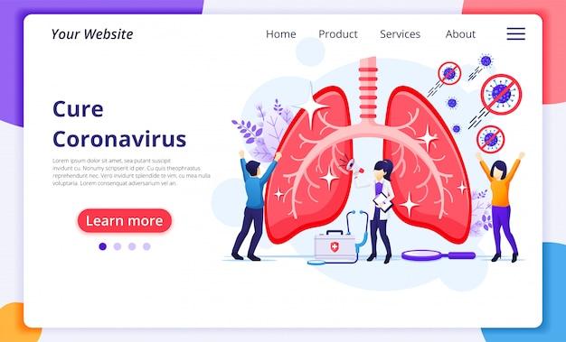 La gente ferma e cura il virus della corona covid-19 dall'illustrazione di concetto di polmoni umani. modello di progettazione della pagina di destinazione del sito web