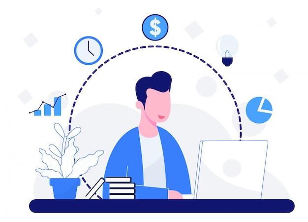 La gente gioca laptop e illustrazione di elementi aziendali