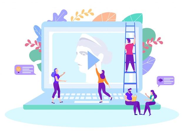 La gente guarda il corso online. insegnamento a distanza. lezione online