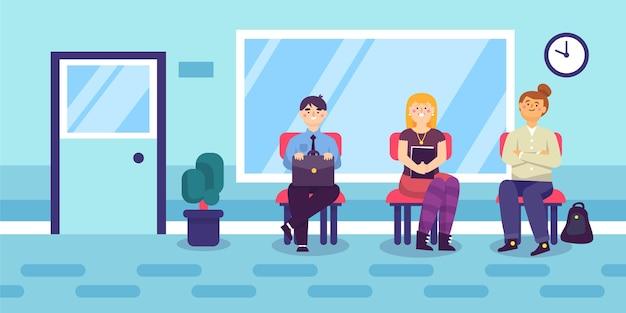 La gente in attesa di colloquio di lavoro illustrazione