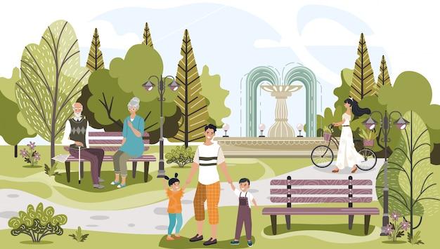 La gente in parco all'aperto fra gli alberi, lo stile di vita della natura, il padre felice con i bambini, la ragazza con la bicicletta e l'illustrazione delle coppie dell'anziano.