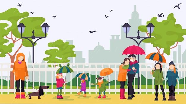 La gente in pioggia sta sotto gli ombrelli nell'insegna dell'illustrazione del parco della città.