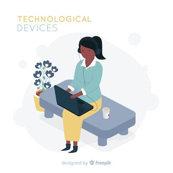 La gente isometrica che utilizza il fondo dei dispositivi tecnologici