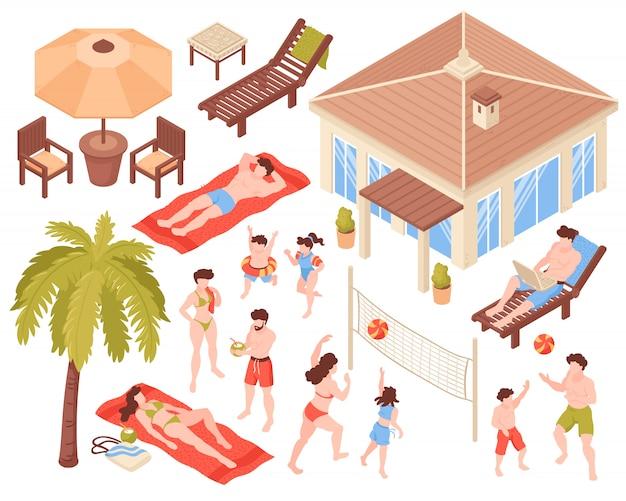 La gente isometrica di feste tropicali della casa di spiaggia delle icone messa con l'illustrazione isolata di vettore della casa dei caratteri umani e delle immagini delle piante tropicali