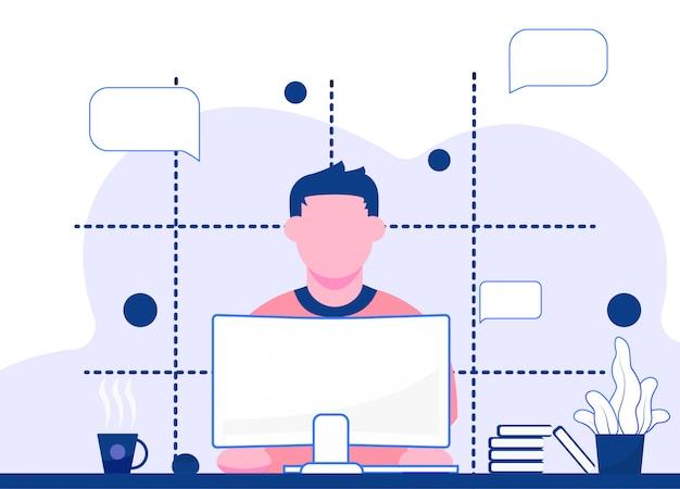 La gente lavora nell'illustrazione degli uffici