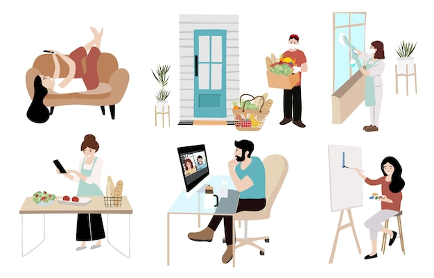 La gente lavora, pulisce, cucina a casa. donna e uomo a casa in quarantena
