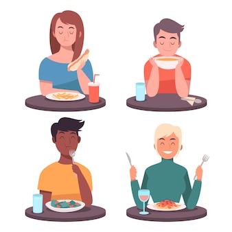 La gente mangia cibo illustrato