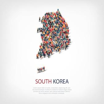 La gente mappa paese corea del sud