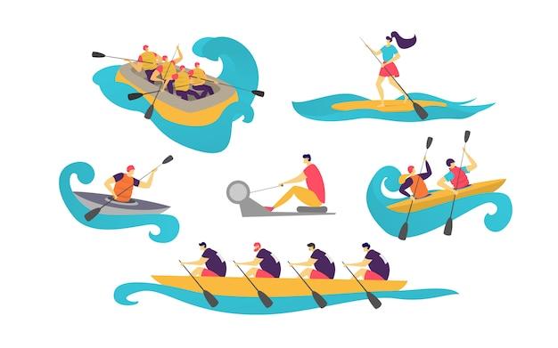 La gente mette in mostra il gruppo in barca sulle donne dell'acqua, canottaggio dell'uomo con la pagaia nel turismo della canoa isolata su bianco.