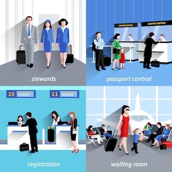 La gente nel concetto di progetto dell'aeroporto ha messo con il controllo del passaporto e le icone piane di registrazione