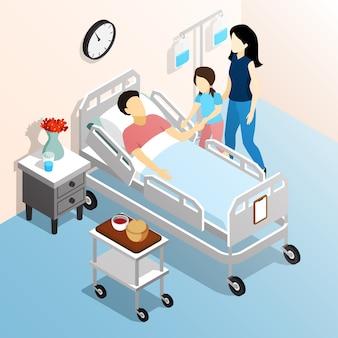La gente nel concetto di progetto isometrico dell'ospedale con i membri della famiglia che visitano l'illustrazione piana relativa malata di vettore