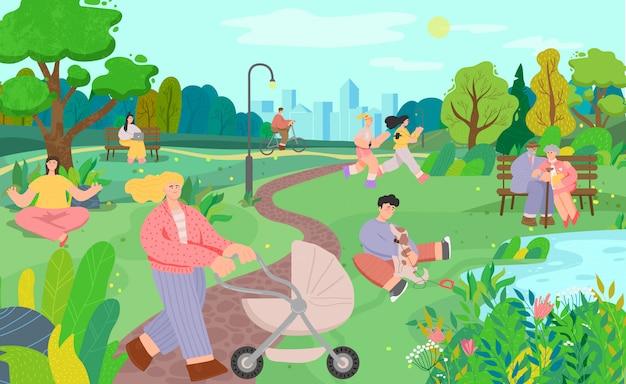 La gente nel parco cittadino, stile di vita attivo, illustrazione per il tempo libero all'aperto