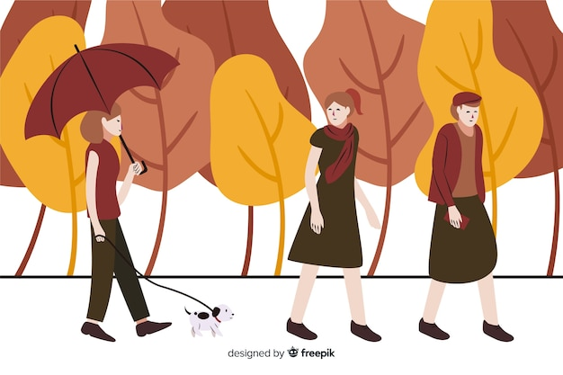 La gente nel parco in autunno