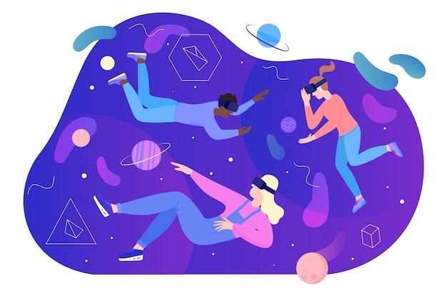 La gente nell'illustrazione di realtà virtuale, i caratteri piani della donna dell'uomo del fumetto nella cuffia avricolare di vetro del vr volano, galleggiando nello spazio di sogno astratto isolato su bianco