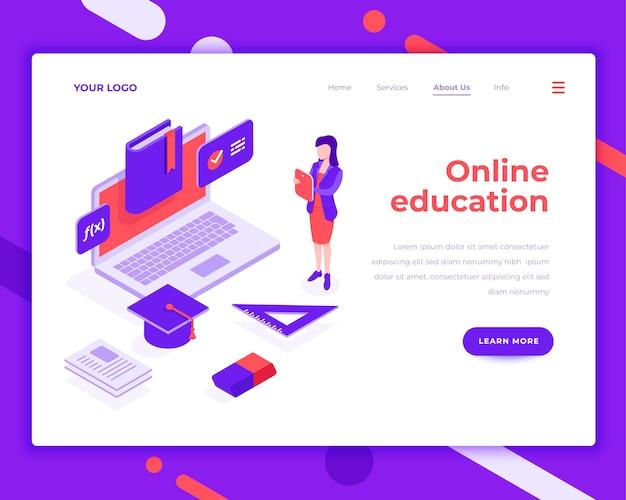La gente online di istruzione ed interagisce con l'illustrazione isometrica di vettore del computer portatile