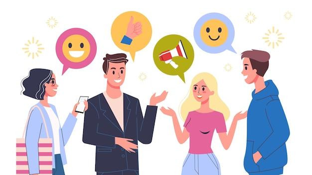 La gente parla usando il fumetto. gruppo di persone felici in chat. comunicazione con gli amici. illustrazione