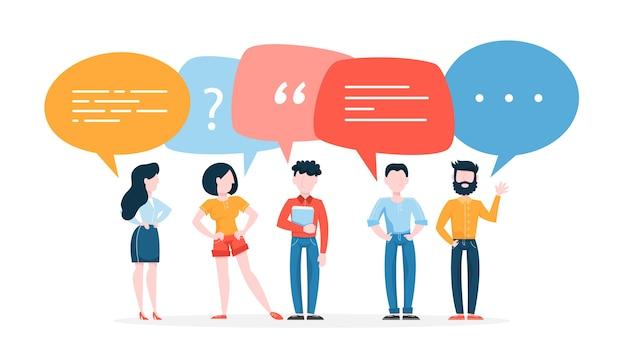 La gente parla usando il fumetto. gruppo di uomini d'affari