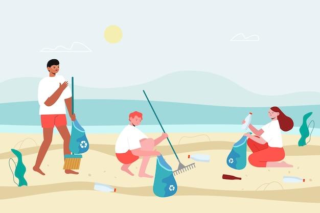 La gente raccoglie i rifiuti dalla spiaggia